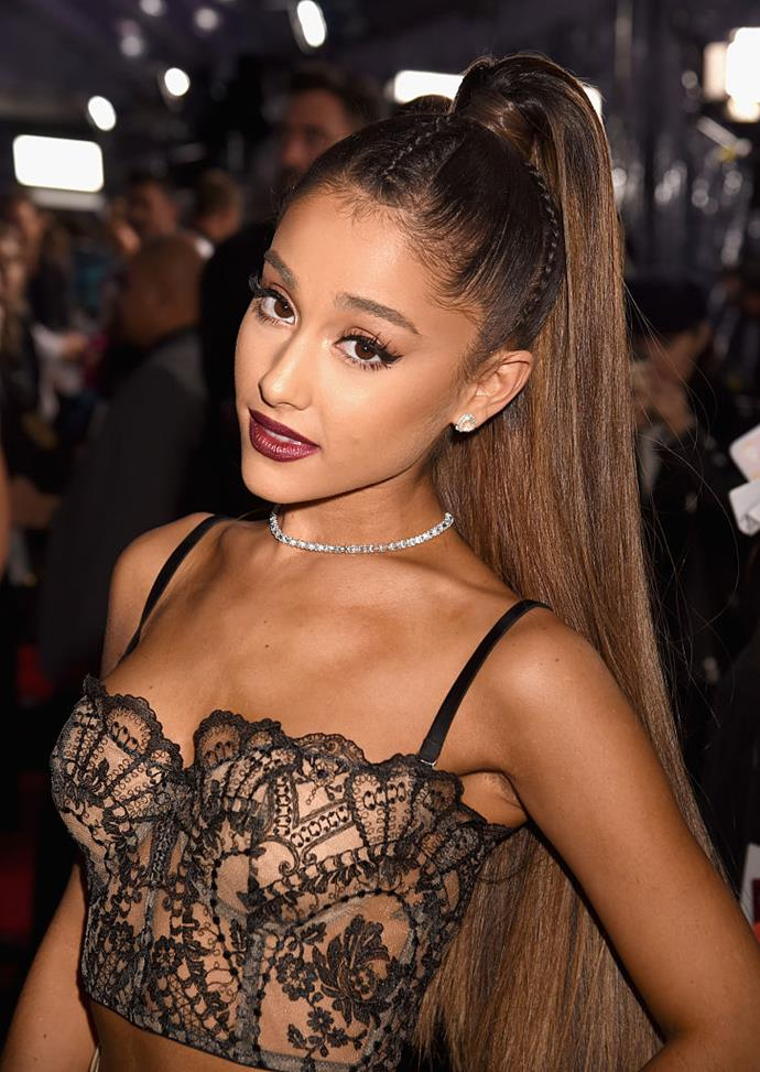 **2016: Ariana Grande's signature high ponytail**<br><br>