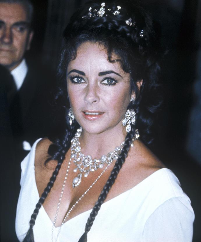 **1969: Elizabeth Taylor's bejewelled up-do**<br><br>