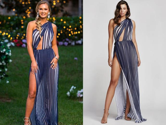 "Chelsie wears the 'Peppi' by Lexi Clothing, now $291 at [Lexi Clothing](https://lexiclothing.com.au/collections/all/products/peppi-dress-navy-white|target=""_blank""