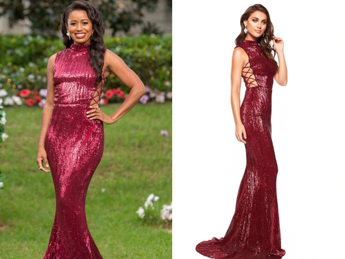 "Mary wears the 'Harper Sparkling Gown', $320 by [Alamour The Label](https://anofficial.com/collections/shop-all/products/a-n-harper-sparkling-gown-burgundy|target=""_blank""
