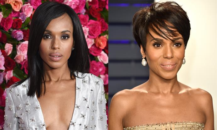 """**Kerry Washington** <br><br> Washington is a hair and beauty chameleon, and frequently alternates between her natural hair and other more experimental styles. <br><br> For the 2019 [*Vanity Fair* Oscar Party](https://www.harpersbazaar.com.au/fashion/models-oscars-after-party-2019-18182