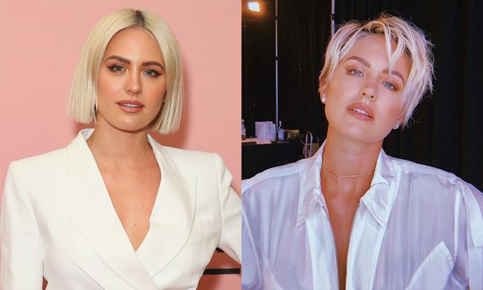 """**Jesinta Franklin** <br><br> In January 2019, Australian model Franklin already had short hair, but decided to make it even shorter with a jagged-chopped blonde bob (right). <br><br> While many women who've tried short hair say it makes things easier, Franklin says it's surprisingly more cumbersome. She told [*ELLE* Australia](https://www.elle.com.au/beauty/jesinta-franklin-short-hair-20786