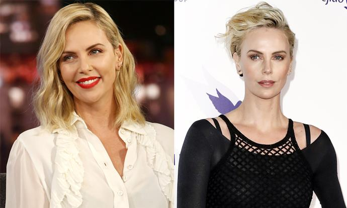 """**Charlize Theron** <br><br> 2019 has been a year of many hair transformations for Charlize Theron—from her slicked blonde 'do at the Golden Globes, to an unexpected black bob at the [Oscars](https://www.harpersbazaar.com.au/fashion/oscars-2019-red-carpet-18165