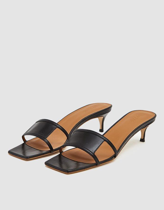 "By Far ""Virgo"" Heel, $531, at [By Far](https://www.byfar.com/collections/sandals/products/virgo-black-leather?variant=15290087047214