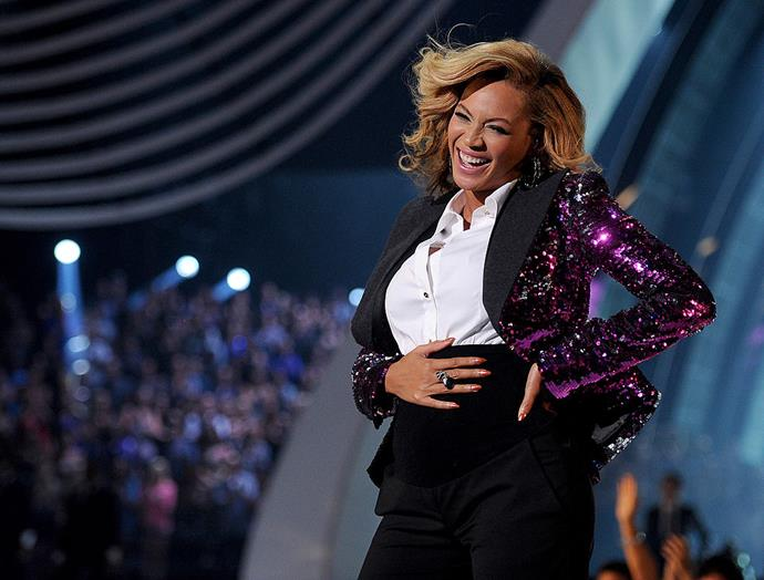 **Beyoncé** <br><br> Beyoncé announced her first pregnancy with her daughter, Blue Ivy, during a performance of her song 'Love On Top' at the 2011 MTV VMAs. At the end of the performance, the singer ecstatically dropped her microphone and unbuttoned her blazer to rub her burgeoning bump for the audience. <br><br> *Image: Getty*