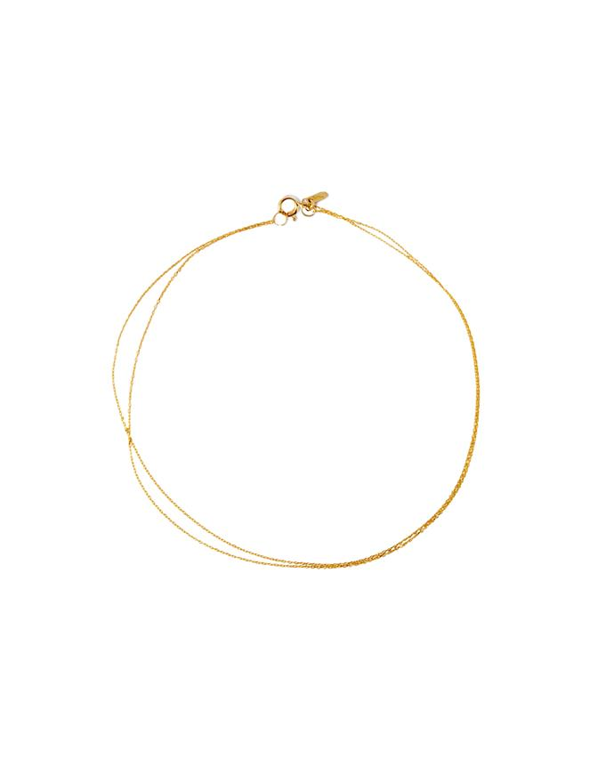 "*An anklet*<br><br> Anklet, $245 by [Sarah & Sebastian](https://www.sarahandsebastian.com/products/double-chain-anklet-gold-1|target=""_blank""