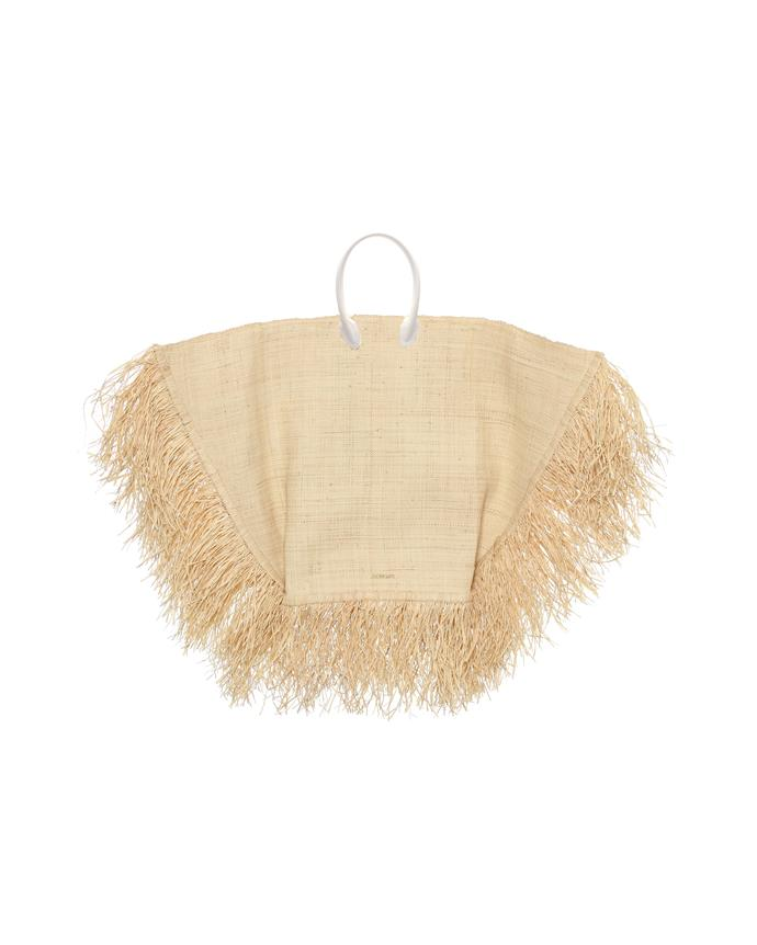 "*The updated straw bag*<br><br> Bag by Jacquemus, $1,225 at [MyTheresa](https://www.mytheresa.com/en-au/jacquemus-le-grand-baci-raffia-tote-1224369.html|target=""_blank""