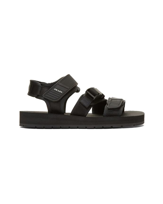 "*Chunky sandals*<br><br> Sandals by Prada, $705 at [Ssense](https://www.ssense.com/en-au/men/product/prada/black-tech-sandals/3450629|target=""_blank""