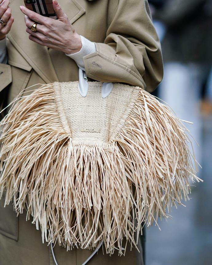 *The updated straw bag*<br><br> Take your woven basket to the next level. Taking a cue from Jacquemus, look for feathered edges, beaded detailing or splashes of paint.