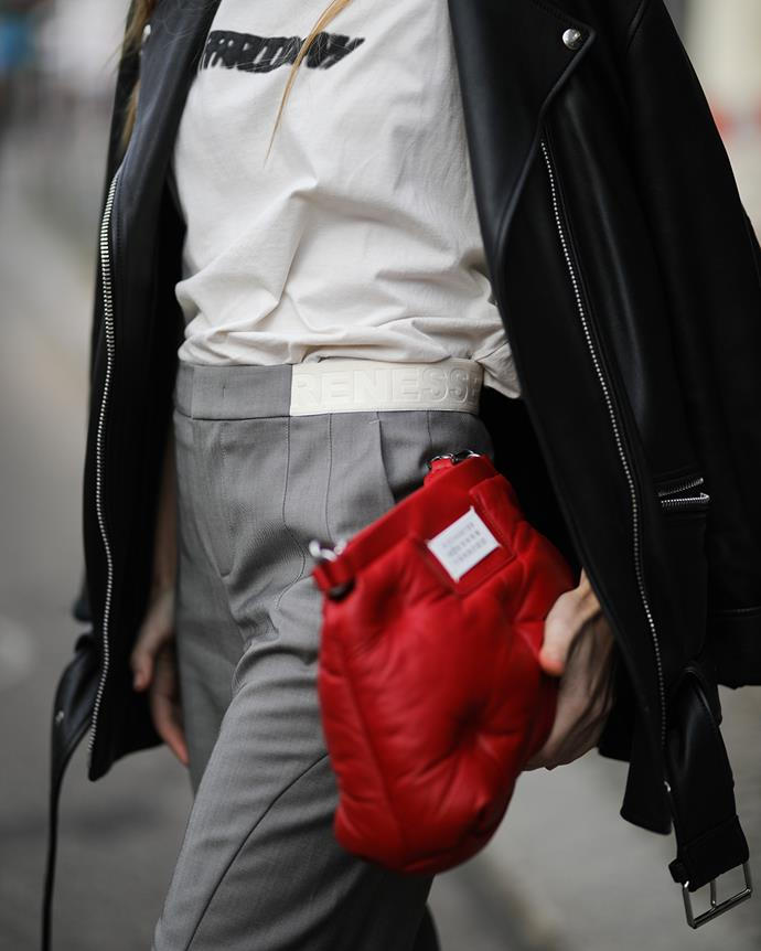 *A puffed-up clutch*<br><br> Whether it's Bottega Veneta's cloud-like pouch or MM6 Maison Margiela's quilted bag, add a little puff into your bag closet.