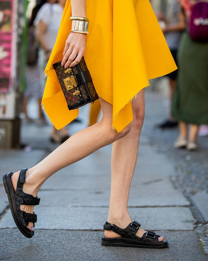 *Chunky sandals*<br><br> Continuing on from Chanel's cult classic, several design houses have been championing the chunky sandal. Pair yours with floaty dresses and straight-leg denim.