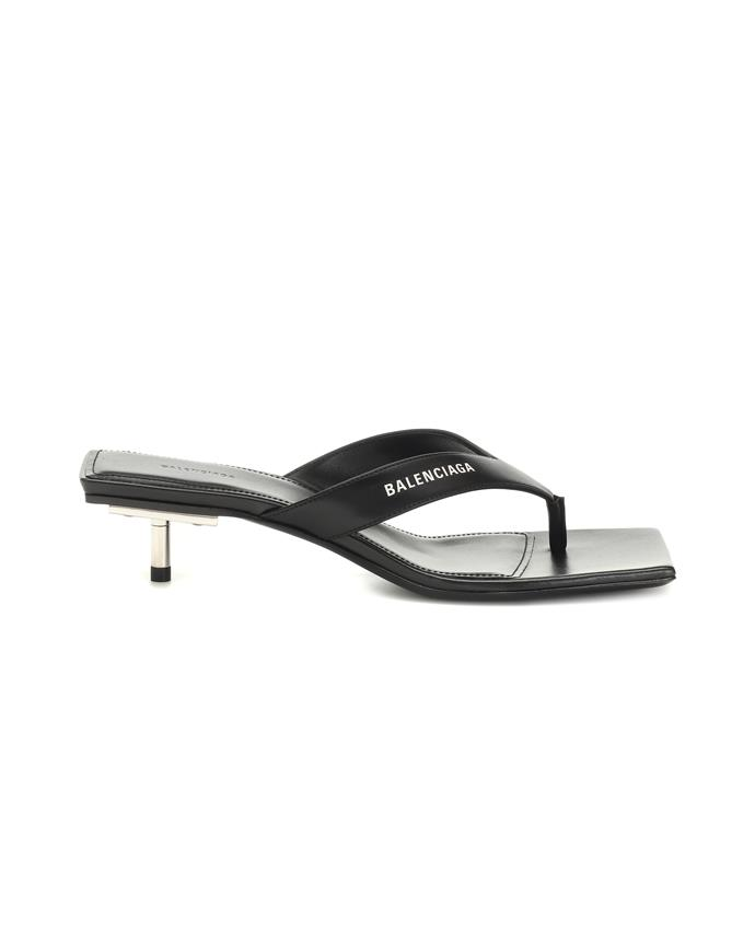 "*Heeled thongs*<br><br> Sandals by Balenciaga, $1,025 at [MyTheresa](https://www.mytheresa.com/en-au/balenciaga-metal-40-leather-sandals-1281493.html|target=""_blank""