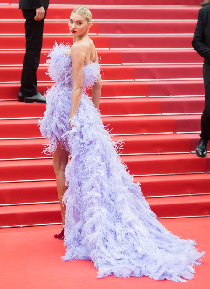 **Level 8:** Elsa Hosk wearing Alberta Ferretti at the 2019 Cannes Film Festival<br><br>  Completely feathered from front to back, Elsa Hosk's violet Alberta Ferretti dress with a high-low hem is a stunning level seven if we ever saw one.