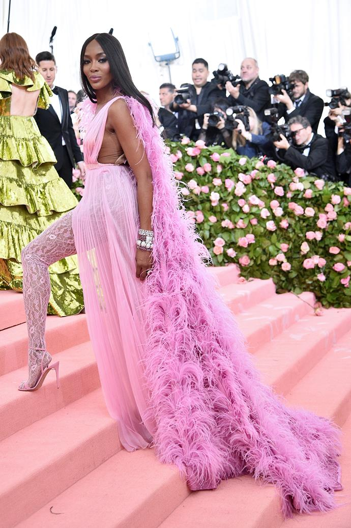 "**Level 6:** Naomi Campbell wearing Valentino Couture at the 2019 Met Gala<br><br>  Naomi Campbell's completely feathered Valentino Couture look from the [2019 Met Gala](https://www.harpersbazaar.com.au/fashion/met-gala-red-carpet-2019-18596|target=""_blank"") is a strong contender for level six, given its statement back."