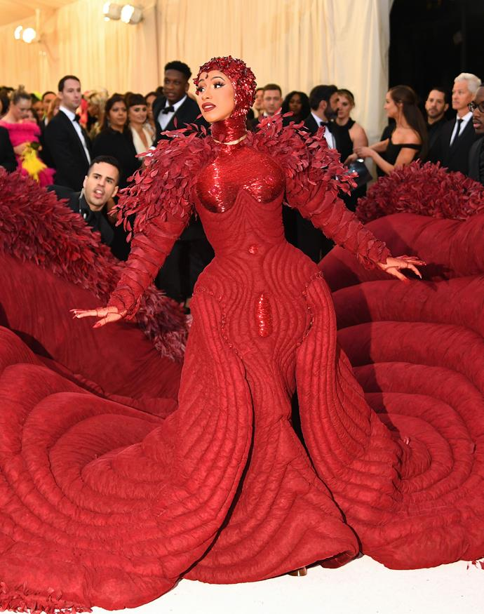 "**Level 10:** Cardi B at the 2019 Met Gala<br><br>  Now, this may be controversial, but Cardi B's Thom Browne dress from the 2019 Met Gala has to be considered a level 10, despite the apparent lack of feathers across the body of the dress. For starters, besides the [30,000 feathers](https://www.businessinsider.com/cardi-b-wears-custom-thom-browne-dress-to-the-met-gala-2019-5/?r=AU&IR=T|target=""_blank""