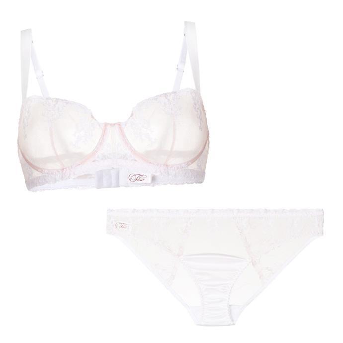 "[Bra](https://www.farfetch.com/au/shopping/women/fleur-of-england-colette-balcony-bra-item-12852599.aspx?storeid=10290|target=""_blank""|rel=""nofollow""), $172, and [briefs](https://www.farfetch.com/au/shopping/women/fleur-of-england-panelled-lace-briefs-item-12852601.aspx?storeid=10290|target=""_blank""|rel=""nofollow""), $148, both by Fleur of England at Farfetch."