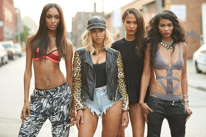 """**Jourdan Dunn, Joan Smalls and Chanel Iman in Beyoncé's video for """"Yoncé""""**<br><br>  Possibly the chicest posse of models to ever exist in one space, Jourdan Dunn, Joan Smalls and Chanel Iman teamed up with Beyoncé to star in the video for """"Yoncé"""" from her internet-breaking surprise album *Beyoncé*.<br><br>  *Watch the video [here](https://www.youtube.com/watch?v=jcF5HtGvX5I