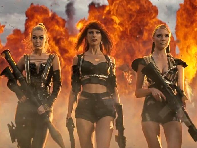 "**Gigi Hadid, Martha Hunt, Lily Aldridge, Karlie Kloss and Cara Delevingne in Taylor Swift's video for ""Bad Blood""**<br><br>  Another cool posse? Taylor Swift's 2015 ""Bad Blood"" supermodel squad, which included Gigi Hadid, Martha Hunt, Lily Aldridge, her [alleged former best friend Karlie Kloss](https://www.elle.com.au/celebrity/taylor-swift-karlie-kloss-friendship-21037