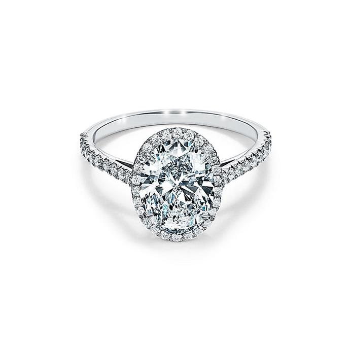 "Platinum halo ring, $14,200 by [Tiffany & Co.](https://www.tiffany.com.au/collections/tiffany-soleste/tiffany-soleste-oval-halo-engagement-ring-with-a-diamond-platinum-band-GRP10886/|target=""_blank""