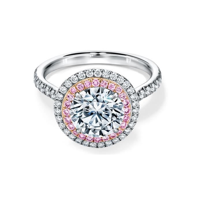 "Pink and white diamond halo ring, $17,800 by [Tiffany & Co.](https://www.tiffany.com.au/collections/tiffany-soleste/tiffany-soleste-round-brilliant-double-halo-engagement-ring-with-pink-diamonds-GRP10885/|target=""_blank""