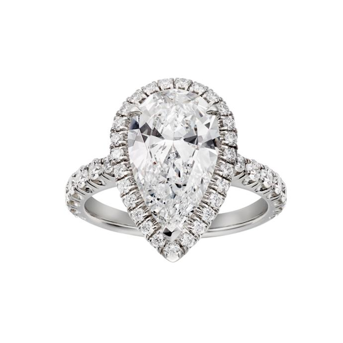 "Platinum pear-cut ring, POA by [Cartier](https://www.cartier.com/en-us/collections/engagement/engagement-rings/cartier-destin%C3%A9e/n4751400-cartier-destin%C3%A9e-solitaire.html|target=""_blank""