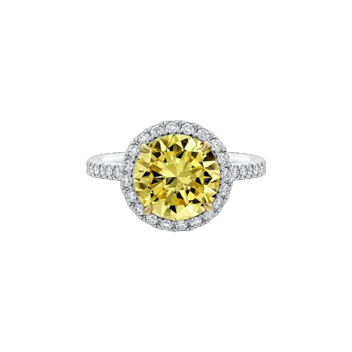 "Yellow diamond halo ring, POA by [Harry Winston](https://www.harrywinston.com/en/round-brilliant-yellow-diamond-micropav%C3%A9-ring|target=""_blank""