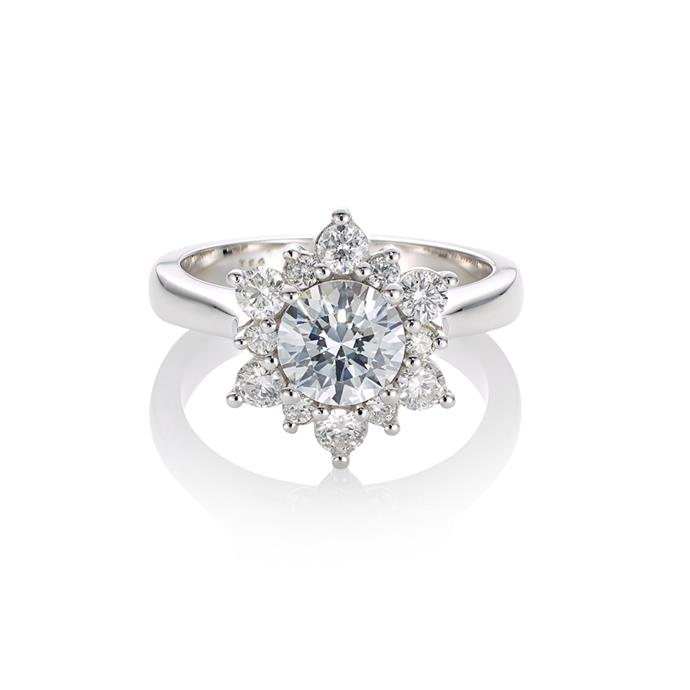 "Round-cut ring with snowflake halo, POA by [Cerrone](https://www.cerrone.com.au/engagement/18ct-white-gold-round-brilliant-cut-diamond-ring-with-a-snowflake-style-cluster-halo/|target=""_blank""