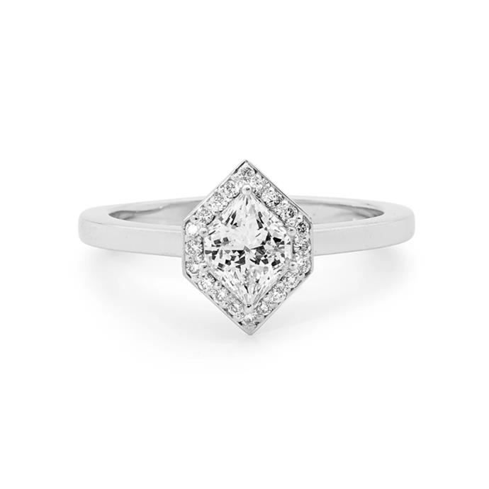 "Kite-cut diamond halo ring, $9,200 by [Linneys](https://www.linneys.com.au/collections/engagement/products/18ct-white-gold-diamond-ring-89|target=""_blank""