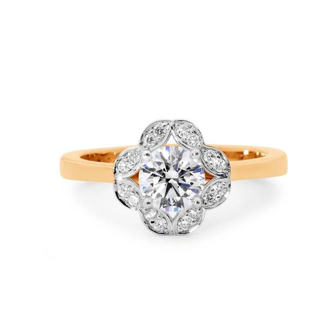 "Round-cut diamond with clover halo ring, $8,900 by [Linneys](https://www.linneys.com.au/collections/engagement/products/clover-diamond-ring|target=""_blank""