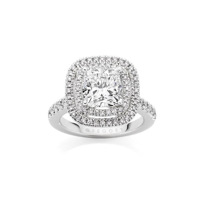 "Cushion-cut halo ring, POA by [Gregory Jewellers](https://www.gregoryjewellers.com.au/jewellery/rings/engagement-rings/cushion-cut-diamond-engagement-ring-2025.html|target=""_blank""