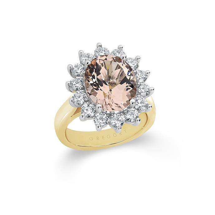 "Morganite and diamond ring, $8,930 by [Gregory Jewellers](https://www.gregoryjewellers.com.au/jewellery/rings/engagement-rings/morganite-and-diamond-coctail-ring.html|target=""_blank""