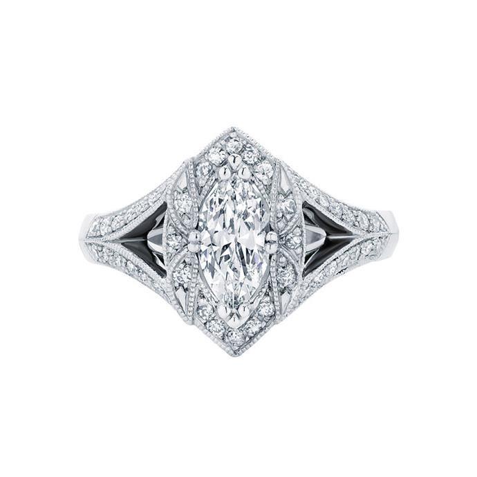 "Marquise diamond with decorative halo, POA by [Larsen Jewellers](https://www.larsenjewellery.com.au/engagement-rings/marquise-cut/aura-white-gold|target=""_blank""