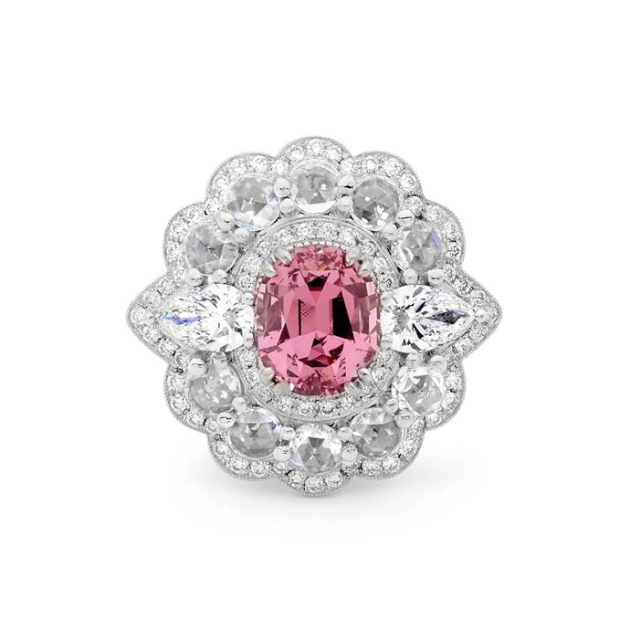 "Mahenge garnet with floral halo ring, $29,500 by [Matthew Ely](https://matthewelyeboutique.com.au/collections/rings/products/rare-mahenge-garnet-and-rose-cut-diamond-antique-style-ring|target=""_blank""