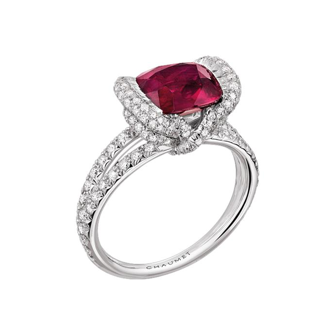 "Cushion-cut ruby and diamond halo ring, POA by [Chaumet](https://www.chaumet.com/high-jewellery/liens-collection/liens-d-amour-ring-082337#product-media|target=""_blank""