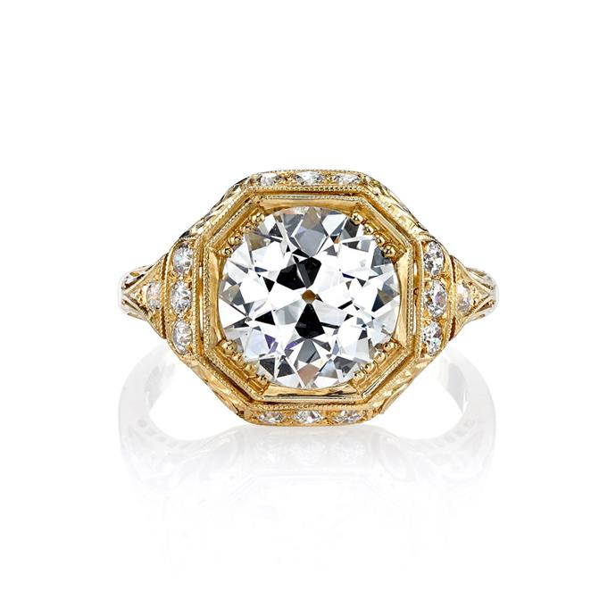 "European-cut diamond with gold decorative halo ring by Single Stone, $60,735 at [Moda Operandi](https://www.modaoperandi.com/single-stone-r20/whitney-ring|target=""_blank""