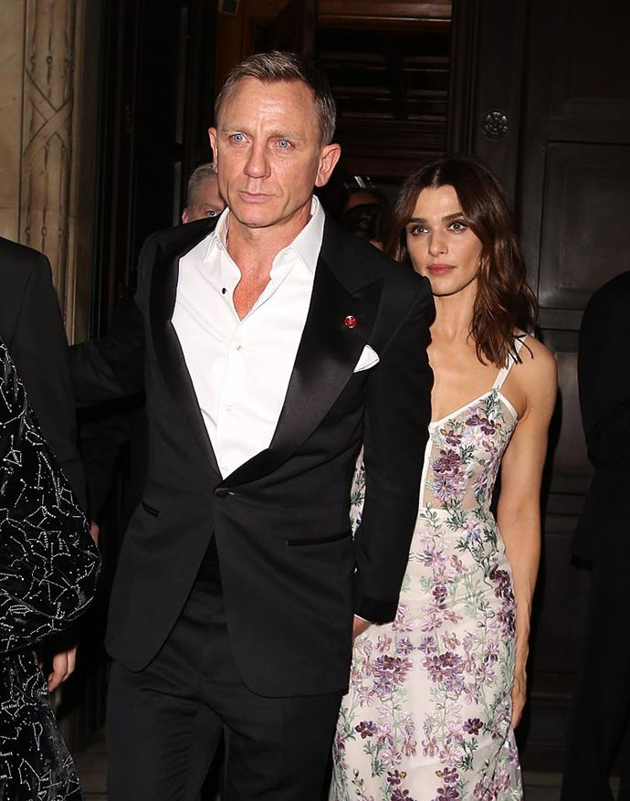 **Daniel Craig and Rachel Weisz** <br><br> Despite marrying in 2011, Craig and Weisz have only made red carpet appearances together a handful of times. The couple's privacy was especially noted during the 2019 awards season, when Weisz was nominated for multiple honours for her appearance in the 2018 film *The Favourite* but attended solo to most events.