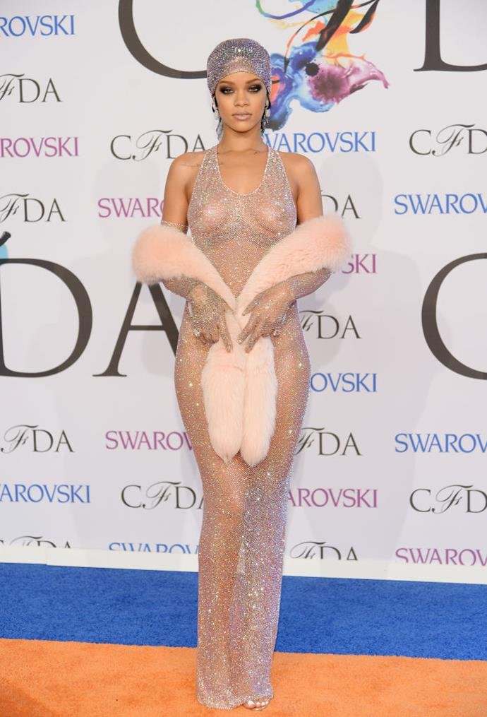"**Rihanna wearing Adam Selman to the 2014 CFDA Awards**<br><br>  What can arguably be called the 'mother of all [naked dresses](https://www.harpersbazaar.com.au/fashion/the-best-naked-dresses-9118|target=""_blank"")', Rihanna's ensemble at the 2014 CFDA Awards created an international [""breakout moment""](https://fashionista.com/2014/11/adam-selman
