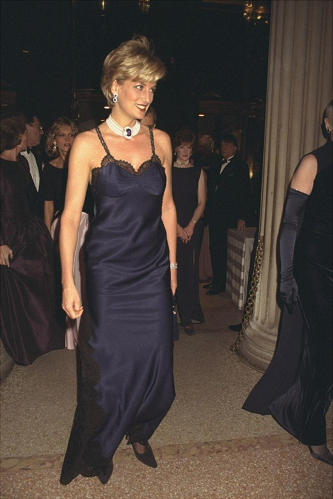 **Princess Diana wearing John Galliano's debut for Dior at the 1996 Met Gala**<br><br>  One of John Galliano's earliest supporters, the Princess of Wales launched his tenure at Dior in 1996 by wearing a number from his first couture collection for the maison at that year's Met Gala.