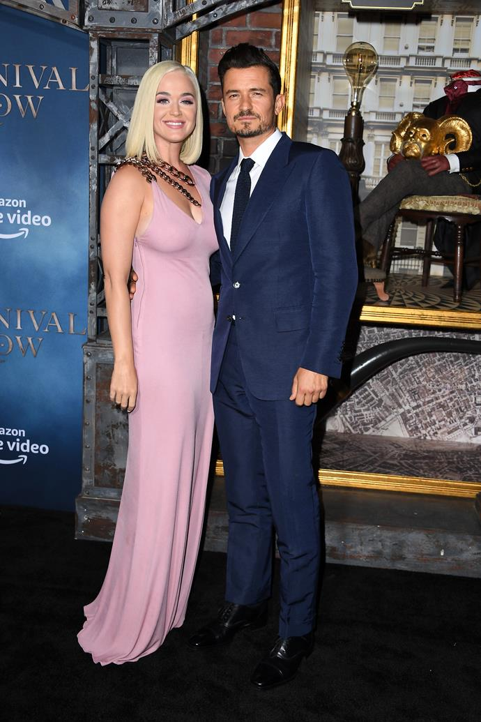 **Katy Perry and Orlando Bloom** <br><br> They've been engaged since February 2019 and together (albeit on-again, off-again) since 2016. Surprisingly, however, bar the occasional Instagram post, they avoid being snapped together at major events. They made their first official public appearance as an engaged couple in August 2019, when they walked the red carpet at the Los Angeles premiere of *Carnival Row* (pictured), an Amazon series that Bloom stars in.