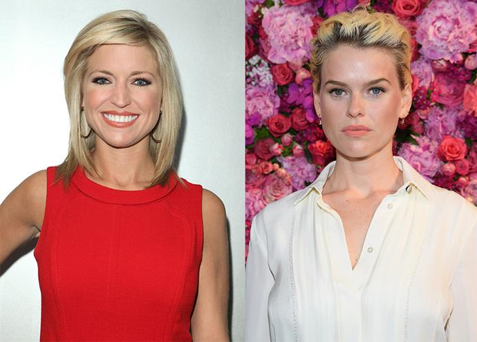 Ainsley Earhardt (left), a current Fox News personality, played by Alice Eve.