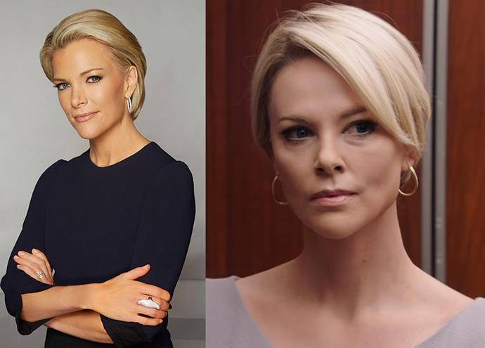 Megyn Kelly, a former Fox News anchor and one of Roger Ailes' accusers, played by Charlize Theron (right).