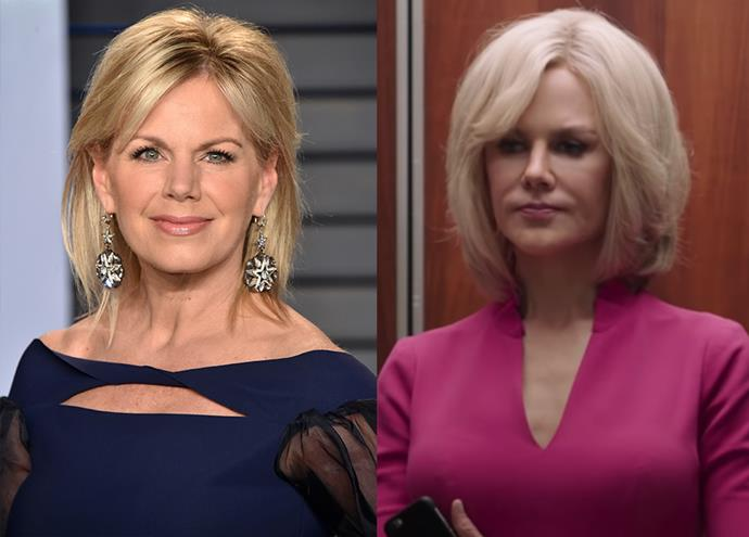 Gretchen Carlson (left), a former Fox News host and one of Roger Ailes' accusers, played by Nicole Kidman.
