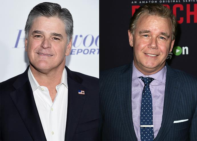 Current Fox News host Sean Hannity (left), played by Spencer Garrett.