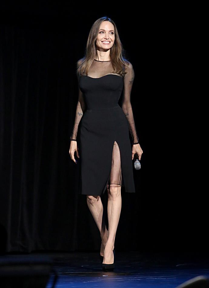 Angelina Jolie attending the 2019 Disney D23 Expo.