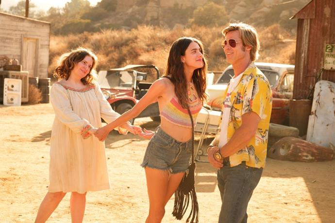 Qualley alongside co-stars Lena Dunham and Brad Pitt in Once Upon A Time In Hollywood.