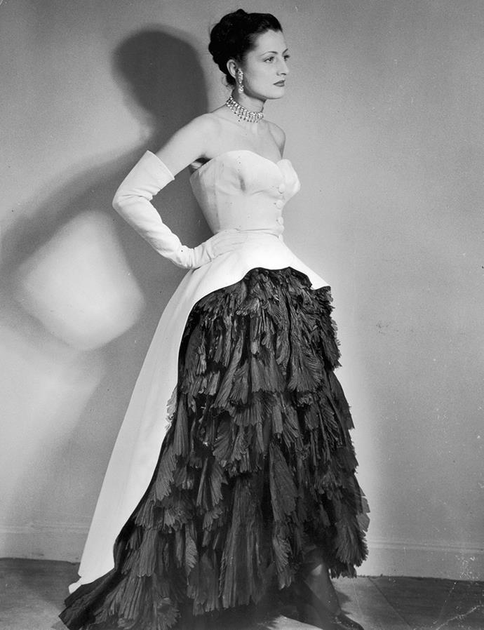 An evening dress designed by Cristobal Balenciaga appearing in *Afternoon and Evening* in 1951.