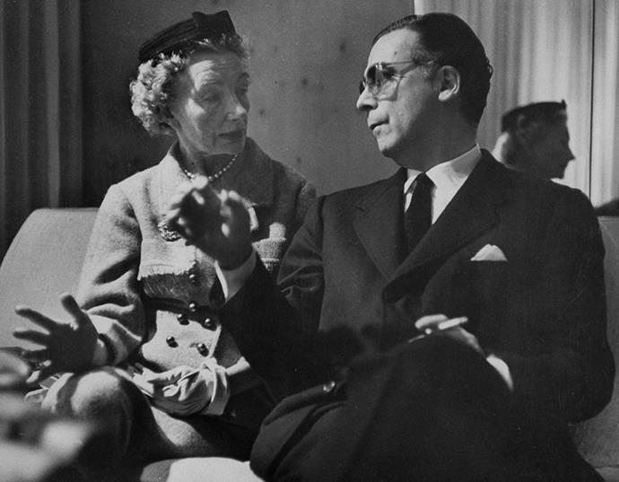 Cristobal Balenciaga talking with Carmel Snow, editor of US Harper's Bazaar from 1934 to 1958.
