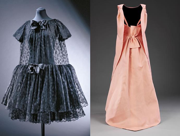 (L-R): 'Lampshade' evening dress, Cristóbal Balenciaga, Paris, 1958; 'La Tulipe' pink gazar evening dress, EISA, Autumn Winter 1965.