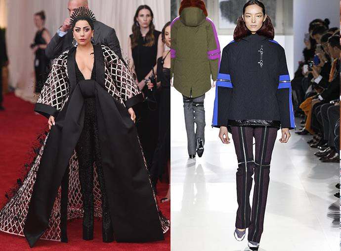 Lady Gaga in Balenciaga at the 2015 MET Gala; Balenciaga runway autumn/winter 2015