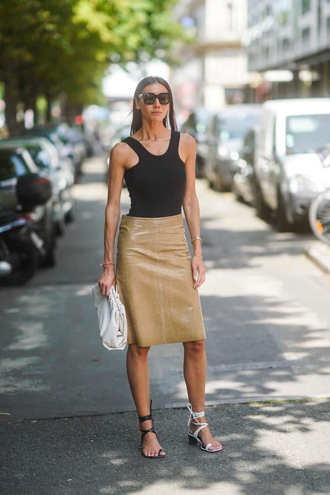 A simple tank and a pencil skirt.